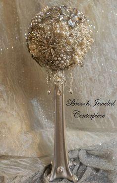 BROOCH WEDDING CENTERPIECE Stunning by Elegantweddingdecor on Etsy, $250.00