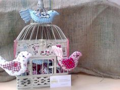 Bird Cage, fabric birds, springtime decor with thecraftyshamrock@gmail.com Fabric Birds, Bird Cage, Spring Time, Cake Pops, Crafty, Christmas Ornaments, Knitting, Holiday Decor, Handmade