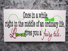 Wedding, Love, Fairy Tale Wedding Sign, Mickey Mouse, Minnie Mouse, Disney Themed Wedding, I Love You Sign, Gift Sign. 10 X 18 inches.. $52.95, via Etsy.