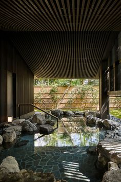 Traditional onsen bathing facilities – both indoors and open-air – deliver relaxation and healing, while dovetailing with a range of treatments that tap into Japan's plentiful natural apothecary, from green tea to cold-pressed camellia oil Kyoto Japan, Japan Onsen, Kerry Hill Architects, Tatami, Garden Spaces, Interior Exterior, Resort Spa, Hot Springs, Modern Architecture