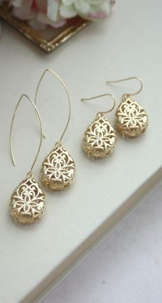 Gold Pear Filigree Earrings. Three Dimensional Pear Tear Drop, Wedding Jewelry, Bridal Earring. Bridesmaid Gift. Gold Teardrop Boho Wedding.  https://www.etsy.com/listing/211686263/gold-pear-filigree-earrings-three?ref=shop_home_active_3
