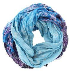 Fashion Floral Paisley Blue Infinity Boho Scarf Cowl Wrap