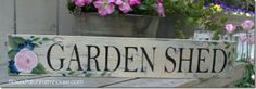 Pink rose garden shed sign