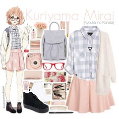 Kuriyama Mirai [Kyoukai no Kanata] by anggieputeri on Polyvore featuring Rails, Glamorous, Topshop, GUESS, Alex and Chloe, Muse, Forever 21, Bobbi Brown Cosmetics, NARS Cosmetics and MAC Cosmetics