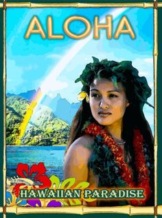 Aloha Hawaiian Hawaii Native Girl United States Travel Advertisement Art Poster…