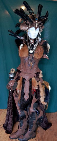 What driud or shaman wouldn't  love this costume. The headdress is my favorite part in the whole set of leather, fur and tiny animal skulls.