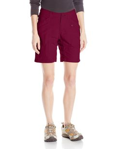 Royal Robbins Women's Backcountry Walker Shorts, Black Cherry, 4. Adjustable button tab at waist.
