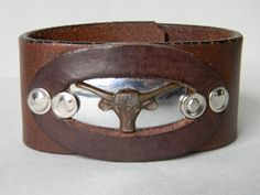 Mens Texas Longhorn Leather Cuff Bracelet.    Pinned by http://high5collegeclub.com