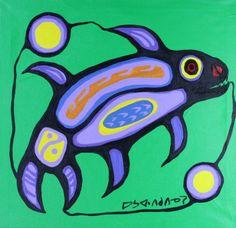 20 x 21 Fish in Inner Lake 1981 Native Canadian, Canadian Artists, Daphne Odjig, Woodlands School, Robert Jr, David Wood, Group Of Seven, Create Words, Native Art