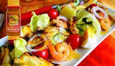Surinaams eten – Grilled Chicken Salad (salade met gegrilde kip en garnalen met Madam Jeanette dressing)