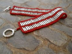 Red & silver hand-woven beaded bracelet