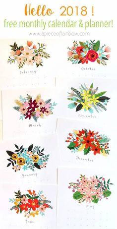 Beautiful Floral 2018 Calendar & Monthly Planner Printables – Scrap Booking