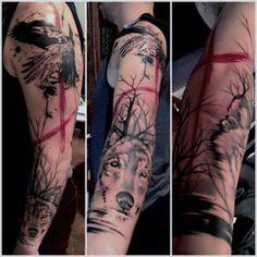 Crooked moon tattoo
