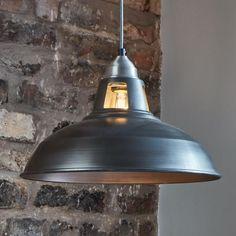 Old Factory Slotted Vintage Pendant Light - Dark Grey Pewter - 15 inch