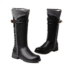 Ladies Heighten Inside Platform Buckle Non-Slipping Sole Black Imitated Leather Boots - 8 B(M) US