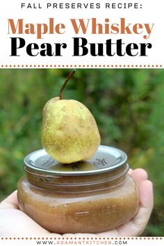 While pear butter is made in much the same way as apple butter, it has Ketosis Diet, Lchf Diet, Pear Butter, Apple Butter, Maple Whiskey, Diet Recipes, Honey Recipes, Jam Recipes, Canning Recipes