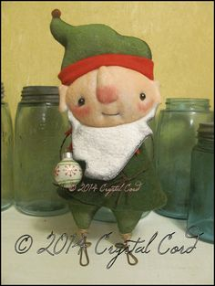 Elf standing doll Holiday Christmas winter decor by emsprims Creepy Cute, Sweet Nothings, Country Farm, Deck The Halls, Ball Ornaments, Love Is All, Soft Fabrics, Christmas Holidays, Primitive