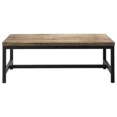 Metalen en houten industriële salontafel B 100 cm Long Island