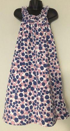 0483db3488c Mini Boden Dress Sz 9-10 Yrs Blue Purple Polka Dot Shift Style Sleeveless