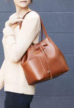Cognac bucket bag | Sole Society Jocelynn