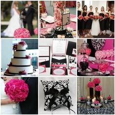 black white fuschia color pattern decoration ideas for reception | Mine is also black photo 989233-1