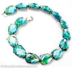 Iridescent Blue Green Crystal Rhinestone Chunky Silver Collar Statement Necklace | eBay