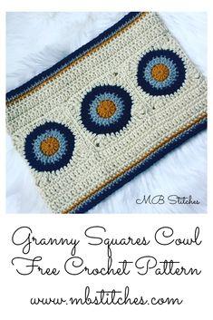 Granny Squares Cowl - Free Crochet Pattern!  #crochet