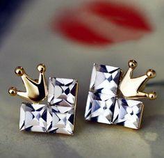 [grxjy5300106]Beautiful Cordate crown earrings