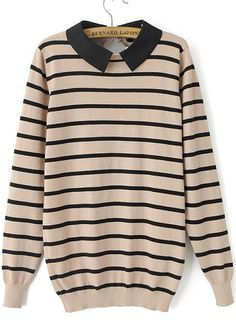 Apricot Long Sleeve Striped Knit Sweater 25.33