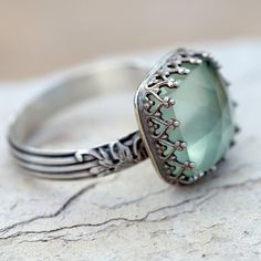 Prehnite Cocktail Ring in Sterling Silver - more → http://fashiondesigningcatherine.blogspot.com/2012/08/prehnite-cocktail-ring-in-sterling.html