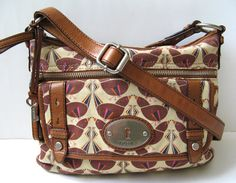 FOSSIL HANDBAG VINTAGE ISSUE WOVEN FABRIC & LEATHER BAG *EXCELLENT*  #Fossil #MessengerCrossBody