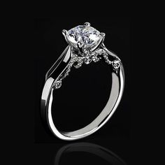 Custom Made Solitaire Engagement Ring With Diamond Scrollwork