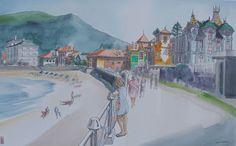 Urban Sketchers Spain. El mundo dibujo a dibujo.: Apuntes asturianos (La Venta del Collau en Arriondas y paseo marítimo de Ribadesella))