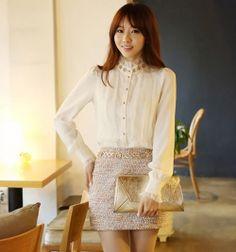 J74555 Korean Fashion OL Temperament Lace Splicing Chiffon Shirt