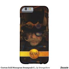 Custom Gold Monogram Steampunk Captain Barely There iPhone 6 Case from #StrangeStore