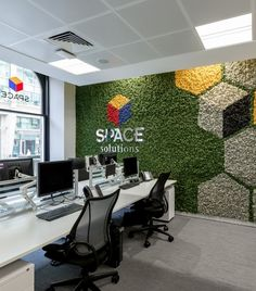 A Nordik Moss Wall with a difference! Coloured hexagons make this wall unique and stylish Logo Zurc é Etraud entrada . Corporate Interiors, Office Interiors, Office Interior Design, Interior And Exterior, Vertikal Garden, Island Moos, Moss Wall Art, Green Wall Art, Plant Wall