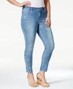 Nanette by Nanette Lepore Plus Size Embroidered-Leg Avalanche Skinny Jeans, Jane Wash, Only at Macy's
