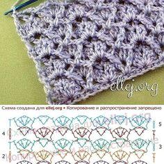 crochelinhasagulhas: Pontos de crochê Crochet Stitches Chart, Crochet Motif Patterns, Knitting Stiches, Crochet Diagram, Crochet Designs, Knitting Patterns, Crochet Cable, Crochet Bunny, Love Crochet
