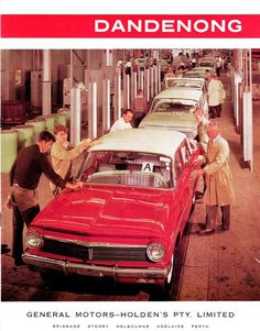 The EH Holden on the production line at Holden's Dandenong assembly plant 1963. Interesting facts about the EH Model, the first hot factory Holden was introduced, known as the EH 225 S4, it was the first EH to combine the 179 six cylinder red motor with a manual gearbox, it was Holden's first attempt at building a Bathurst Special. Also in 1963 a new engine plant and foundry began operations at Fishermans Bend which had a capacity to produce 700 engines a day. Australian Vintage, Australian Cars, Perth, Brisbane, Melbourne, Holden Australia, Aussie Muscle Cars, Sports Sedan, Car Advertising