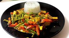 Red Peppers and Green Beans with Smoked Tofu - You can add some curry and milk to the dish to enjoy it with some basmati rise.