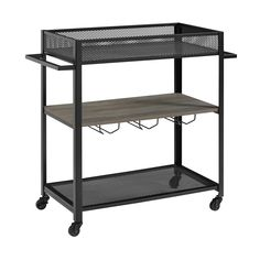Buy the Delacora Dark Walnut Direct. Shop for the Delacora Dark Walnut Columbus Wide Wood and Metal Bar Cart with Casters and save. Industrial Bar Cart, Modern Industrial, Bowie, Metal Bar Cart, Serving Cart, Modern Bar, Grey Wash, Wood Shelves, Bar Stools