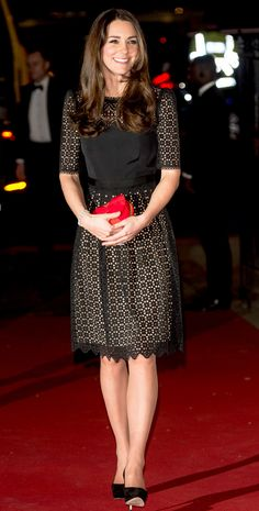 Catherine, Duchess of Cambridge, aka Kate Middleton, attending the annual SportsBall in London. She's wearing the Templeton dress by Temperley London, Jimmy Choo Cosmic pumps in black suede, and her modified red Alexander McQueen clutch. 11/28/13