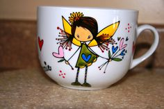 use pebeo porcelaine painting to draw on cups. then cook it in the oven for 35 minutes at 300 degree. Ketto design painted by Jeannie Lavallée