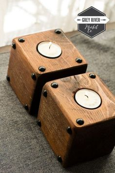 SALE: Small Square Wooden Candle Holder 4 / by GreyRiverMarket