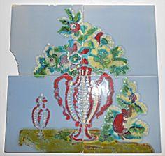 Pacific Tile & Porcelain Set/4 Floral Decorated Tiles The Forth, Antique Tiles, Small Corner, Mosaic, Objects, Porcelain, Pottery, Antiques, Amp