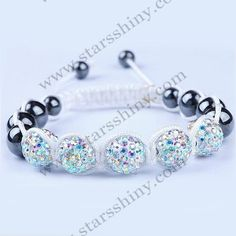 Clay Shamballa Bracelet, 10mm round AB2X clay rhinestone beads