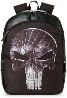 Marvel Boys 8-20) Black Punisher Backpack Punisher 5d4f4bab931