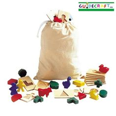 Feel and Find Game -- With 20 matching wooden shapes and textured tiles, children can count, match, sort, and identify objects. For visual or tactile play, independently or in groups. (age 2 to 6)