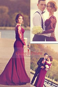 2016 Full Sleeves Prom Dresses Chiffon Mermaid With Applique Burgundy/Maroon