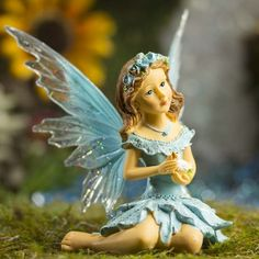 Blue Resin Messenger Dove Fairy #fairygarden #factorydirectcraft
